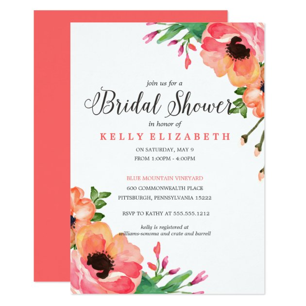 MODERN WATERCOLOR FLORAL bridal shower invitation | Zazzle