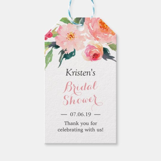 Wedding Gift Flowers: Modern Watercolor Floral Decor Bridal Shower Gift Tags