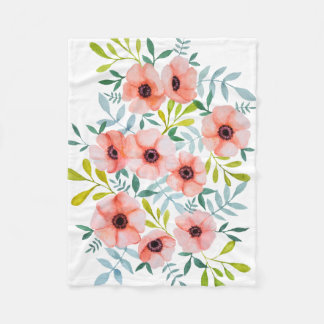 Modern Watercolor Floral Design Fleece Blanket