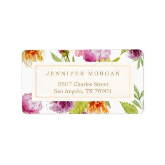 Modern Watercolor Floral Elegant Decor Label