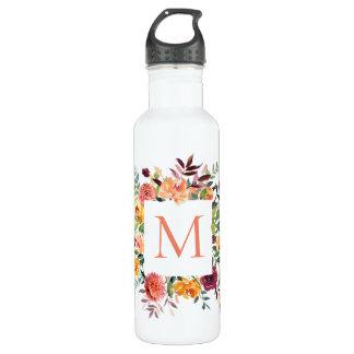 Modern Watercolor Floral Monogram 710 Ml Water Bottle