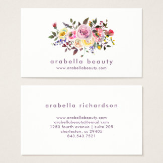 Modern Watercolor Floral | Pastel Roses Business Card