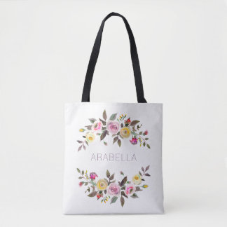 Modern Watercolor Floral | Pastel Roses with Name Tote Bag