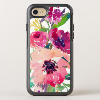 Modern Watercolor Floral Pink Red Roses OtterBox Symmetry iPhone 8/7 Case