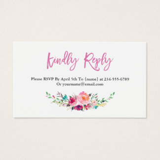 Modern Watercolor Floral RSVP Insert Card
