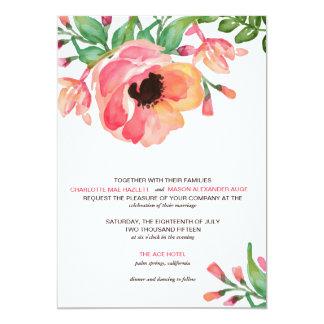 MODERN WATERCOLOR FLORAL wedding invitation