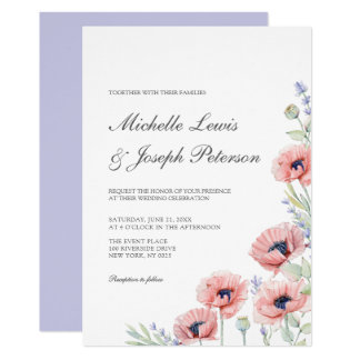 Modern Watercolor Floral Wedding Invitation Cards