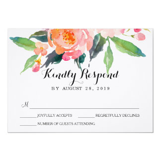 Modern Watercolor Floral Wedding RSVP3 Card