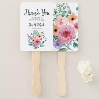 Modern Watercolor Floral Wedding. Thank You. Hand Fan