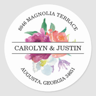 Modern Watercolor Flowers Address Label Round Sticker