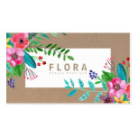 Modern watercolor flowers art brown paper florist pack of standard business cards