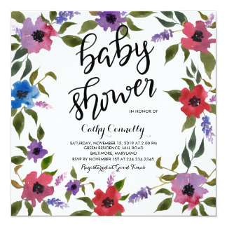 Modern Watercolor Flowers Baby Shower Handwritten Card