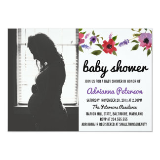 Modern Watercolor Flowers Baby Shower Photo Card