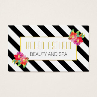 Modern watercolor flowers black and white stripes business card