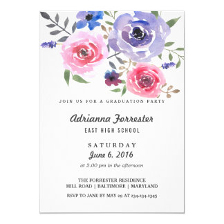 Modern Watercolor Flowers Graduation Party Card