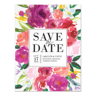 Modern Watercolor Flowers Save the Date Magnet Magnetic Invitations