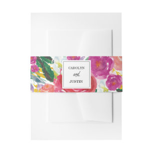 Modern Watercolor Flowers Wedding Belly Band Invitation Belly Band