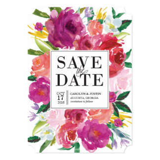 Modern Watercolor Flowers Wedding Save the Date 13 Cm X 18 Cm Invitation Card