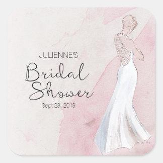 Modern Watercolor Gown Bridal Shower Sticker