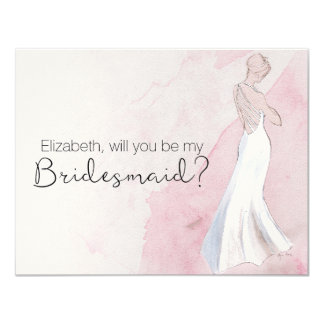"""Modern Watercolor Gown """"Will you be my bridesmaid"""" Card"""