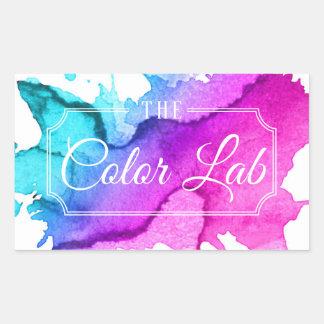 Modern Watercolor Hair Salon Hair Stylist Rectangular Sticker