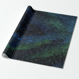 Modern Watercolor Hand Painted Blue Green Skyscape Wrapping Paper