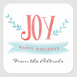 Modern Watercolor Joy Holidays Square Sticker