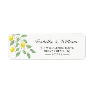 Modern Watercolor Lemon Summer Wedding Address Return Address Label