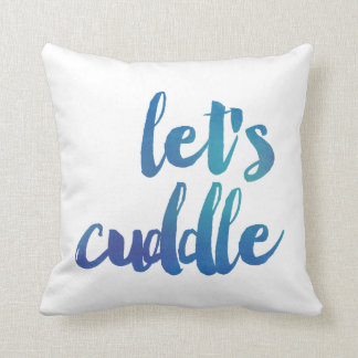 Modern Watercolor Let's Cuddle Decorative Pillow Throw Cushions