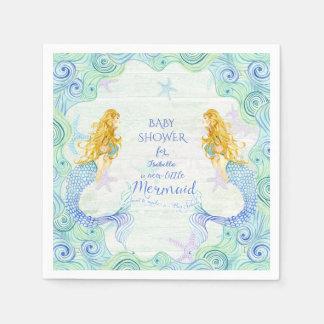 Modern Watercolor Mermaid Baby Shower Waves Wood Paper Napkin