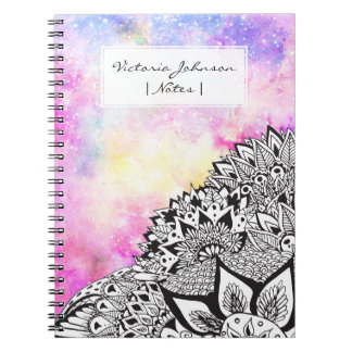 Modern watercolor nebula white floral illustration spiral notebook