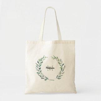 Modern watercolor olive branch monogram name tote bag