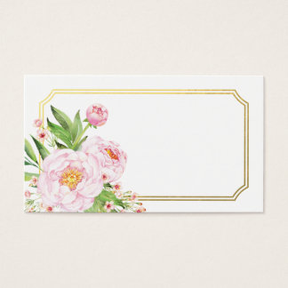 Modern Watercolor Peonies Escort Cards
