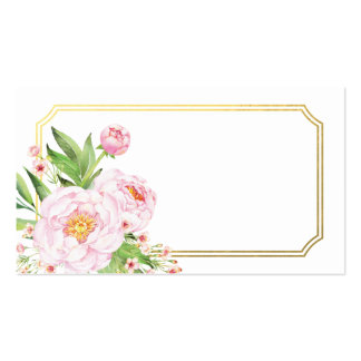 Modern Watercolor Peonies Escort Cards Pack Of Standard Business Cards