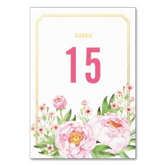 Modern Watercolor Peonies Table Numbers Table Card