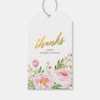 Modern Watercolor Peonies Wedding Favor Tags