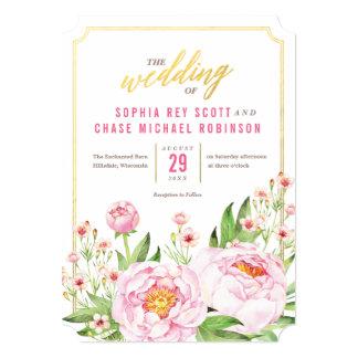 Modern Watercolor Peonies Wedding Invitations