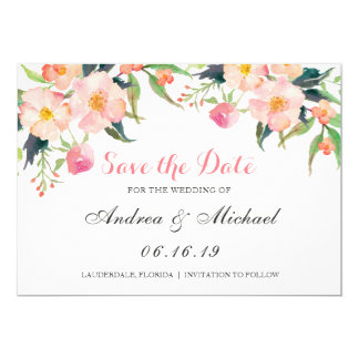 Modern Watercolor Pink Floral Save The Date Card