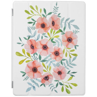 Modern Watercolor Pink Flowers Illustration iPad Cover
