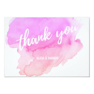Modern Watercolor Pink, Peach THANK YOU Card
