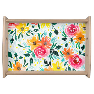 Modern Watercolor Pink Yellow Flowers Serving Tray