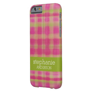 Modern Watercolor Plaid Pattern Baby Shower Barely There iPhone 6 Case