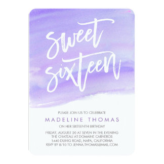 Modern Watercolor Purple Sweet Sixteen Invitation