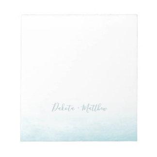 Modern Watercolor Seaside Aqua Tides Wedding Notepad