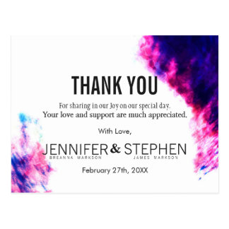 Modern Watercolor Smudges Thank You Postcards