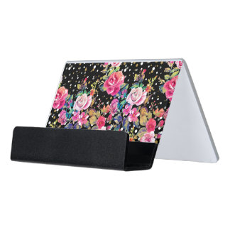 Modern watercolor spring floral and gold dots desk business card holder