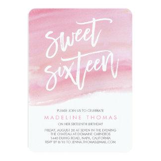 Modern Watercolor Sweet Sixteen Invitation