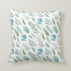 Modern Watercolor Teal Green Teal Blue Leaves Cushion