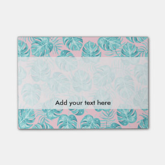 Modern watercolor teal pink tropical cute flowers post-it® notes