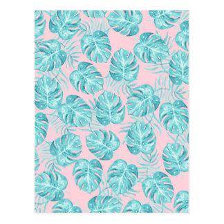 Modern watercolor teal pink tropical cute flowers postcard